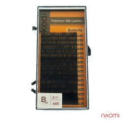 Ресницы Kodi professional Butterfly B 0.10 (16 рядов: 8,9,10,12,13,14 мм), черные