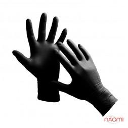 Перчатки нитриловые упаковка - 50 пар, размер S (без пудры), черные