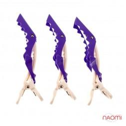 Затискач для волосся Salon Professional, професійний кольоровий білий з фіолетовим в наборі 3 шт.