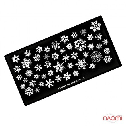 Пластина для стемпинга MoYou London серии Festive Collection 02 Новый год, снежинки, фото 1, 210.00 грн.