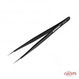 Пинцет Lidan для наращивания ресниц H 16, черный, прямой, 12 см