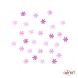 Декор для ногтей снежинки, цвет бело-розовый с голограммой