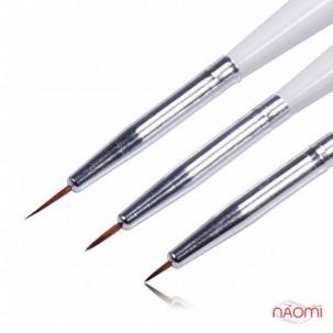 Набор кистей для рисования, с белой ручкой, 3 шт.