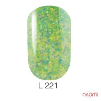 Гель-лак Naomi Lets Go Party 221 сочетание зелено-салатовой чешуи и фольги-стружки, 6 мл