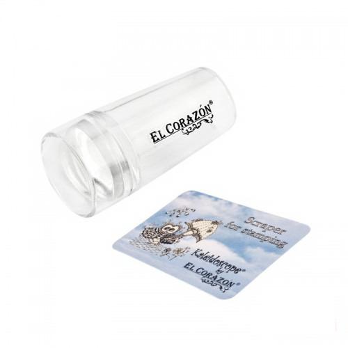 Односторонний силиконовый штамп и скрапер для стемпинга El Corazon № K-sst-11, прозрачный, фото 1, 179.00 грн.