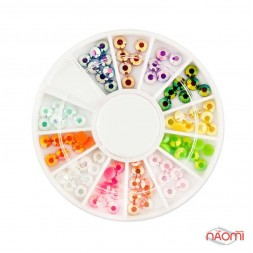 Декор для нігтів в контейнері Карусель стрази неонові, 12 кольорів d = 2,5 мм