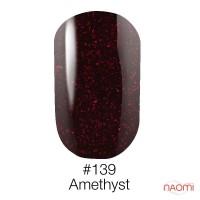 Гель-лак Naomi 139  Amethyst бордовый  с блёсткам, 6 мл