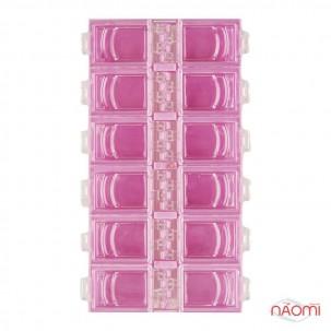 Контейнер для декора, прямоугольный на 12 секций, цвет розовый