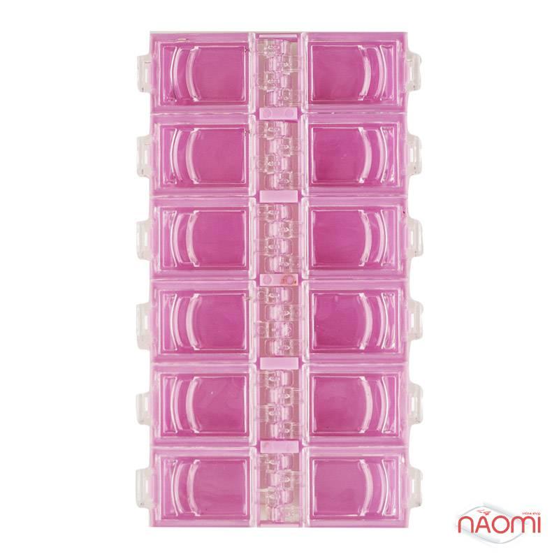 Контейнер для декора, прямоугольный на 12 секций, цвет розовый, фото 2, 29.00 грн.