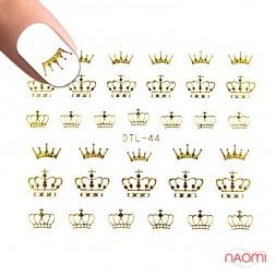 Наклейки для ногтей DTL 44 Золотые короны