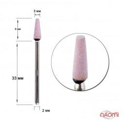 Насадка корундовая 10р, боковые валики конус розовый средний