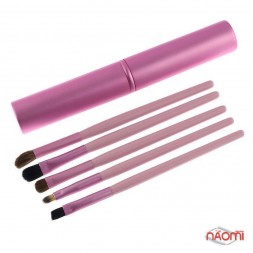 Набор кистей для макияжа, в тубусе, розовые, 5 шт.
