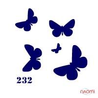 Трафарет для временного тату Бабочки №232 6х6 см