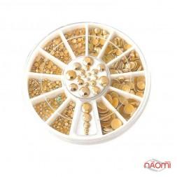 """Декор для нігтів в контейнері """"Карусель"""" (1,5-5 мм, матові, жовте золото)"""