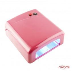УФ лампа для ногтей 36W YRE L-13, таймер на 120 сек. и режим бескон.и, цвет розовый
