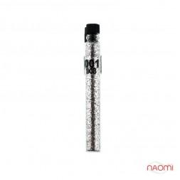 Блестки Salon Professional, размер 008 001 цвет серебро, в пробирке