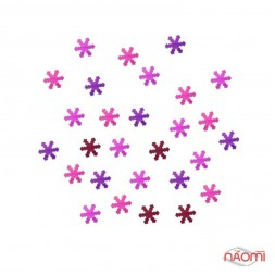Декор для ногтей снежинки, цвет фиолетовый