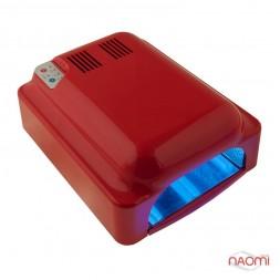 УФ лампа для ногтей 36W LV 828, сен. таймер 60,120,180 сек.и режим бескон.+ вентилятор, цвет красный