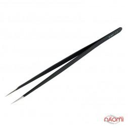 Пинцет Global Fashion для наращивания ресниц, прямой, черный, 14 см