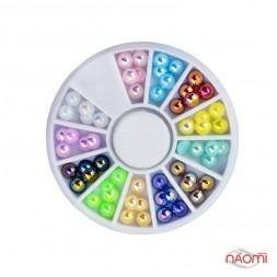 Декор для нігтів в контейнері Карусель напівперли (12 кольорів) 5 мм 60 шт.