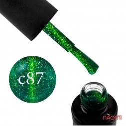 Гель-лак Naomi Cat Eyes С87 зеленый с салатовым бликом, 6 мл