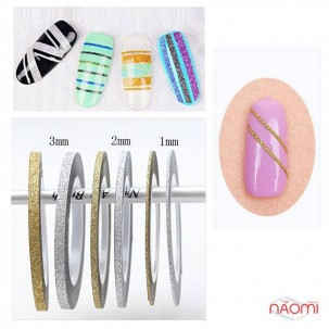 Лента-скотч бархатная для ногтей, цвет серебро, 1 мм