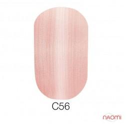 Гель-лак Naomi Cat Eyes С56 бежево-розовый с перламутром, 6 мл