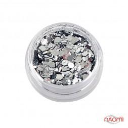 Декор для ногтей конфетти (камифубуки) шестигранник, с блестками, цвет серебро