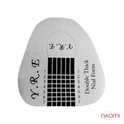 Формы для наращивания ногтей YRE широкие, серебряные, 20 шт.