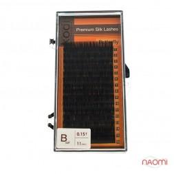 Ресницы Kodi professional Butterfly B 0.15 (16 рядов: 11 мм), черные