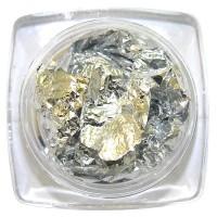 Фольга жатая в баночке, цвет серебро