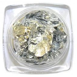Фольга жатая, сусальное золото в баночке, цвет серебро