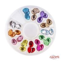 Декор для нігтів в контейнері Карусель камені фігурні, 12 кольорів, d = 7 мм, 36 шт.