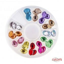 """Декор для нігтів в контейнері """"Карусель"""", камені фігурні, 12 кольорів, d = 7 мм, 36 шт."""