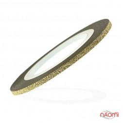 Лента-скотч бархатная для ногтей, цвет золото, 2 мм