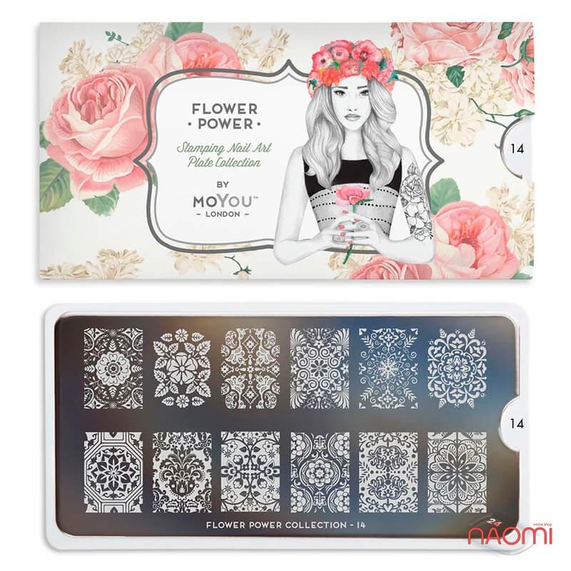 Пластина для стемпінга MoYou London серії Flower Power Collection 14 Мереживо, квіти, фото 2, 210.00 грн.