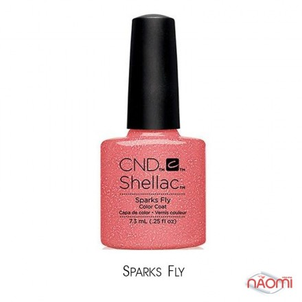 CND Shellac Flirtation Sparks Fly искрящийся коралловый, 7,3 мл, фото 1, 299.00 грн.