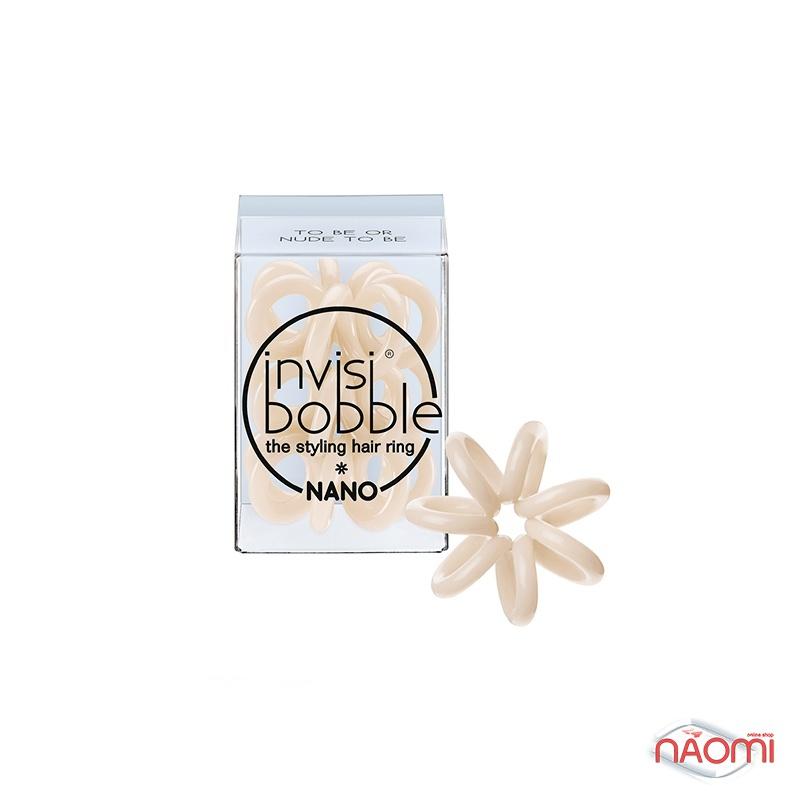 Резинка-браслет для волос Invisibobble NANO To Be or Nude to Be, цвет бежевый, 20х3 мм, 3 шт., фото 1, 119.00 грн.