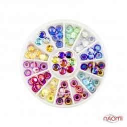 Декор для нігтів в контейнері & amp; quot; Карусель & amp; quot; круглі камені, кольорові