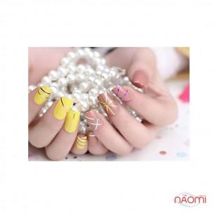 Стрічка-скотч для нігтів, колір золото з голограмою, 1 мм