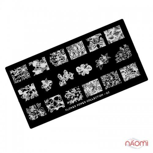 Пластина для стемпинга MoYou London серии Flower Power Collection 03 Цветы, фото 1, 225.00 грн.