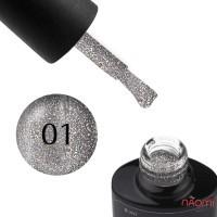 Гель-лак Saga Professional Cat Fiery 01 серебро со светоотражающими шиммерами и мелкими блестками, с бликом, 8 мл