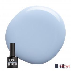 База цветная каучуковая NUB Color Base Coat 01 Heaven, серо-голубой, 8 мл