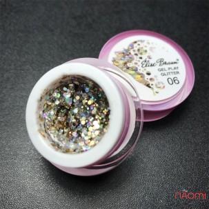 Глиттерный гель Elise Braun Gel Play Glitter 06, цвет золотисто-березовый, 5 г