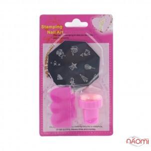 Набор для стемпинга (малый) Stamping Nail Art, штамп, скрапер и пластина