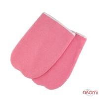 Рукавиці для парафінотерапії махрові на зав'язках, колір рожевий, пара