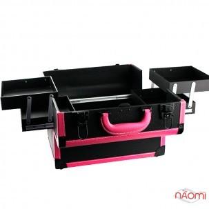 Бьюти-кейс мастера маникюра, парикмахера, визажиста с полками 113, 36х22х24 см, цвет черный с розовым ободком