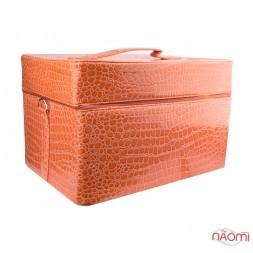 Бьюти-кейс мастера маникюра, парикмахера, визажиста, 39х28х24 см, цвет оранжевый
