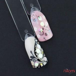Декор для нігтів конфетті (каміфубукі) 3 мм, колір білий з перламутром, 5 г