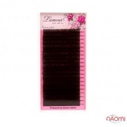 Вії Lamour D 0,10 (20 рядків: 10-14 мм), темний шоколад